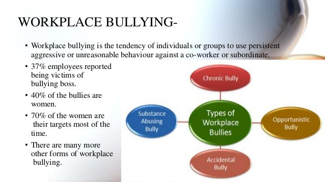 workplace bullying a destroyer of organizations An estimated 603 million americans have experienced workplace bullying, according to a 2017 study by the workplace bullying institutebullying isn't confined to the schoolyard it can occur between a boss and subordinate or between co-workers.