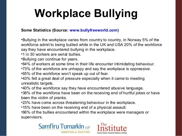 research on workplace bullying Bullying in the workplace is associated with negative job satisfaction and retention it has also been found to have adverse effects on the health of employees using a qualitative descriptive design, this study examined the stories of bullying among nurses based on actual or witnessed experiences.