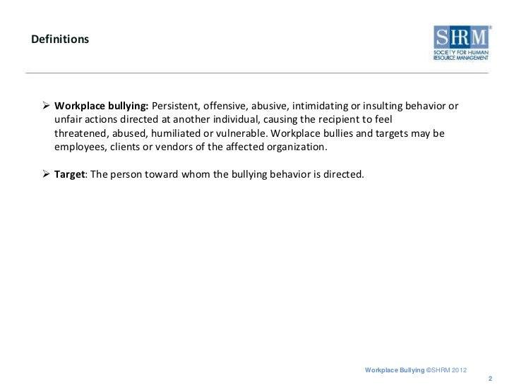 Abusive intimidating behavior definition
