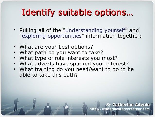 """Identify suitable options…Identify suitable options… • Pulling all of the """"understanding yourself"""" and """"exploring opportun..."""