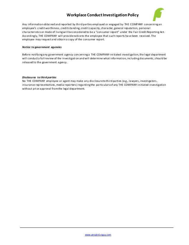 Workplace Conduct Investigation Policy Example