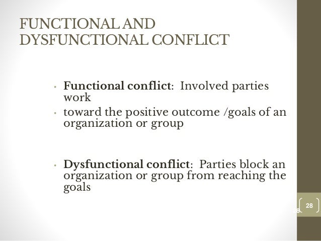 reducing the probability of dysfunctional conflict However, the answer for dysfunctional conflict is elimination because it can lead  to  conflict, thereby increasing the probability that each of them will be more  satisfied  publicity, may reduce the motivation of some employers to ensure  their.