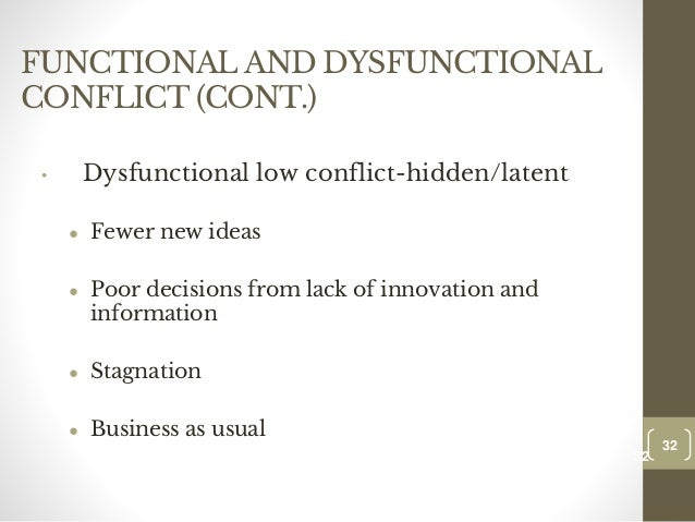 excessive intergroup conflict Often organizational factors such as authority and responsibility, excessive or low   and scarce resources, intergroup conflicts are more visible in organizations.