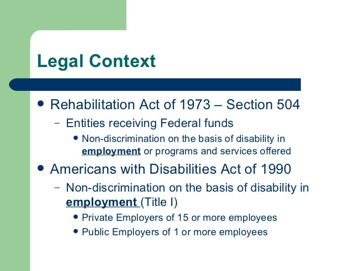 The federal americans with disabilities act