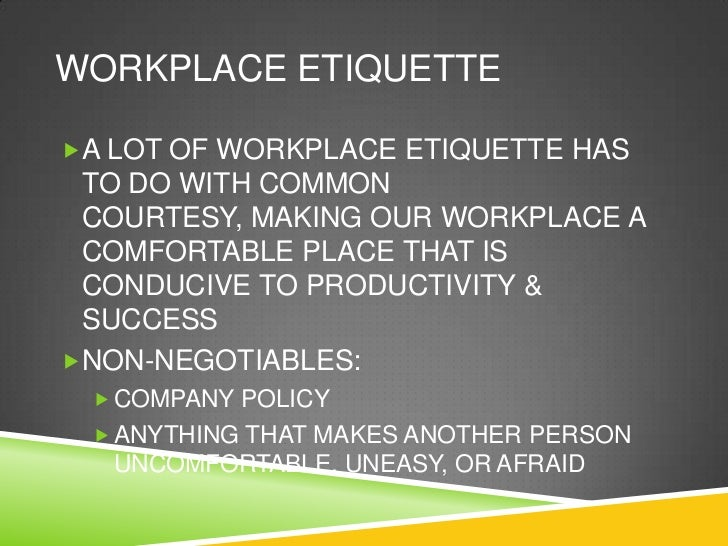 workplace etiquette examples
