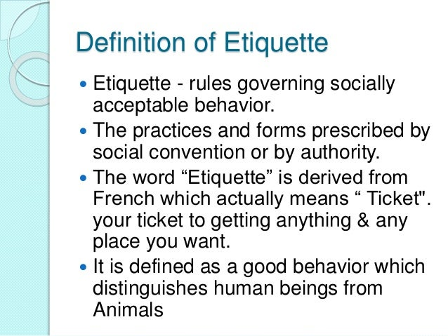 Definition ...  sc 1 st  SlideShare & Workplace etiquette u0026 manners