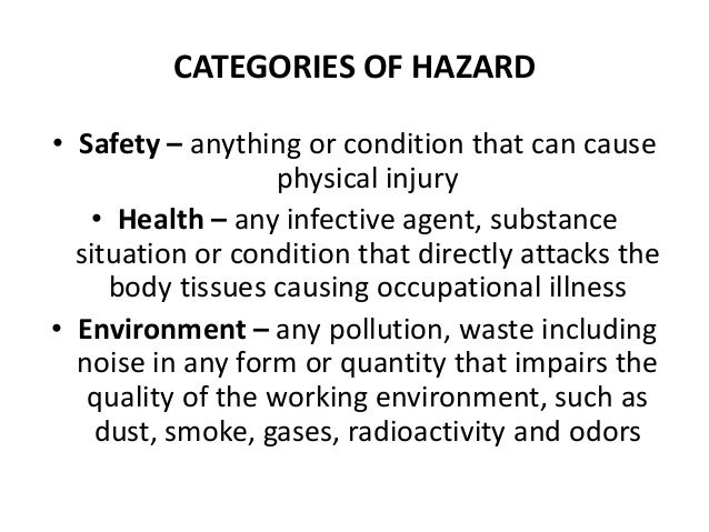 categories of environmental hazards Environmental hazard is the risk of damage to the environment, for example, air pollution, water pollution, toxins, and radioactivity.