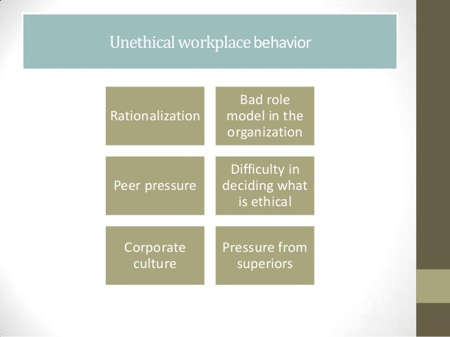 unethical behavior in the work place 7 practices to prevent unethical behavior by emily douglas on october 31,  cultural management work is difficult to ensure true success when it comes to organization ethics, people must see.