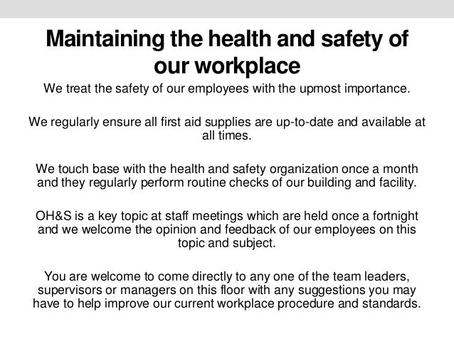 ohs workplace Occupational safety and health with workplace health promotion programs  but  how does one integrate wellness and ohs effectively and responsibly.