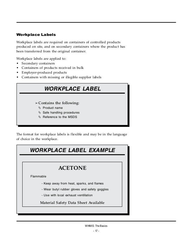 Workplace safety 101 workplace hazardous materials for Whmis workplace label template