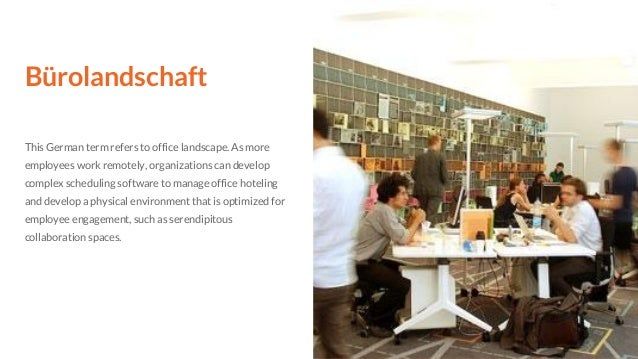 Bürolandschaft This German term refers to office landscape. As more employees work remotely, organizations can develop com...