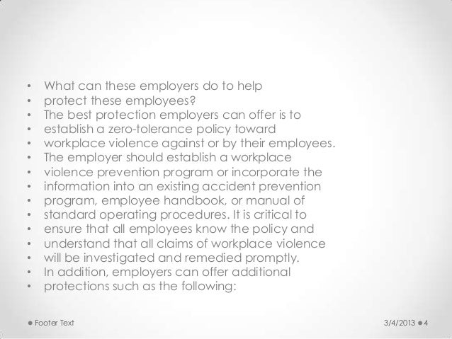 violence in the workplace policy and procedures manual