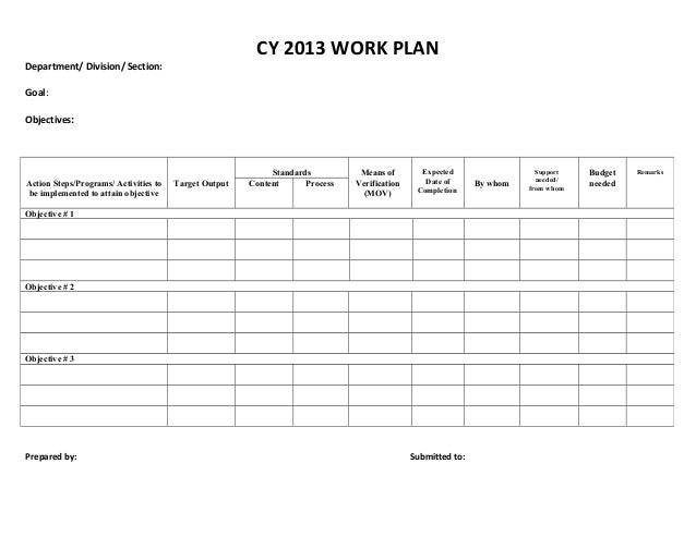 Elegant CY 2013 WORK PLANDepartment/ Division/ Section:Goal:Objectives: .
