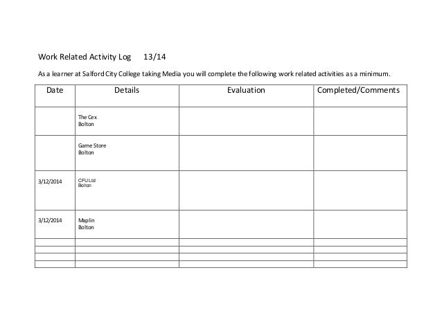 Weekly Task Report Template Excel