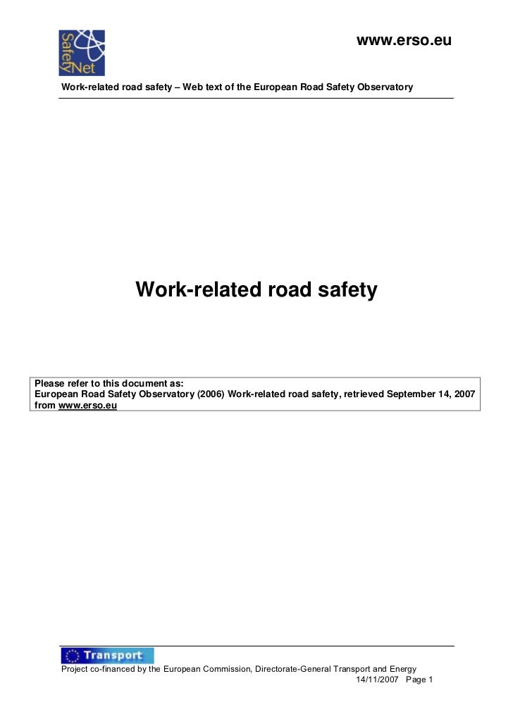 www.erso.eu     Work-related road safety – Web text of the European Road Safety Observatory                      Work-rela...