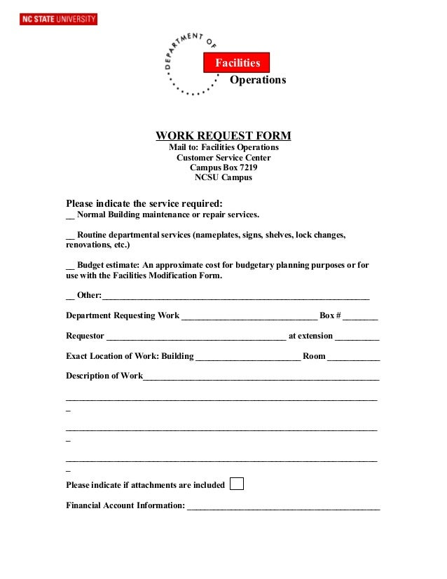 Facilities                                          Operations                        WORK REQUEST FORM                   ...