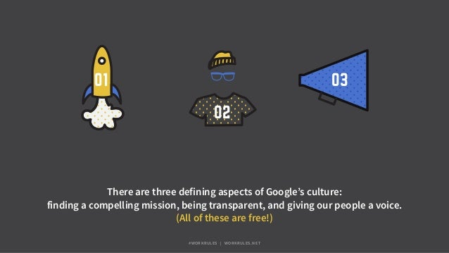 03 02 01 There are three defining aspects of Google's culture: finding a compelling mission, being transparent, and giving...
