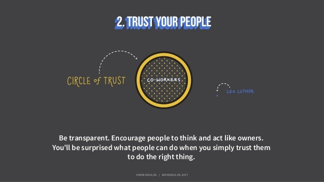 Be transparent. Encourage people to think and act like owners. You'll be surprised what people can do when you simply trus...