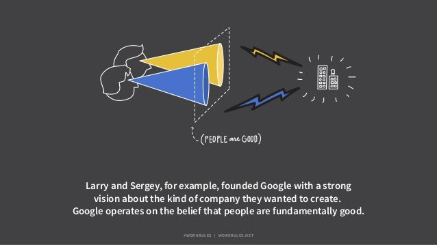Larry and Sergey, for example, founded Google with a strong vision about the kind of company they wanted to create. Google...