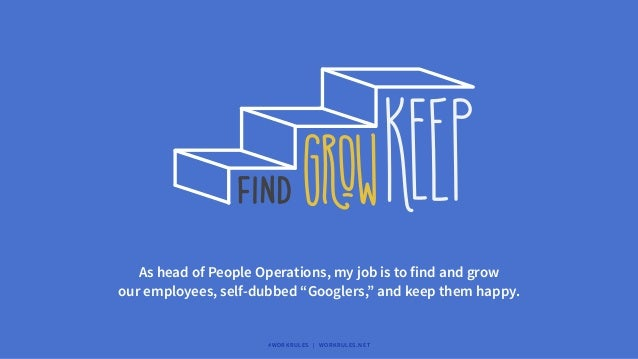 """As head of People Operations, my job is to find and grow our employees, self-dubbed """"Googlers,"""" and keep them happy. #WORK..."""