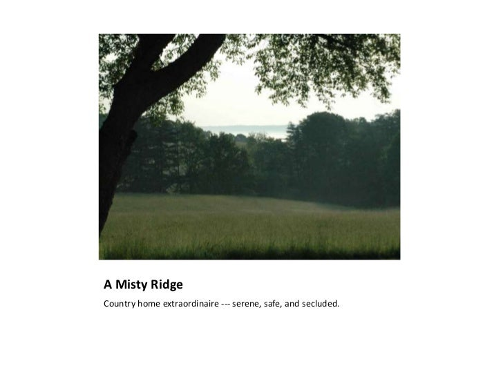 A Misty RidgeCountry home extraordinaire --- serene, safe, and secluded.