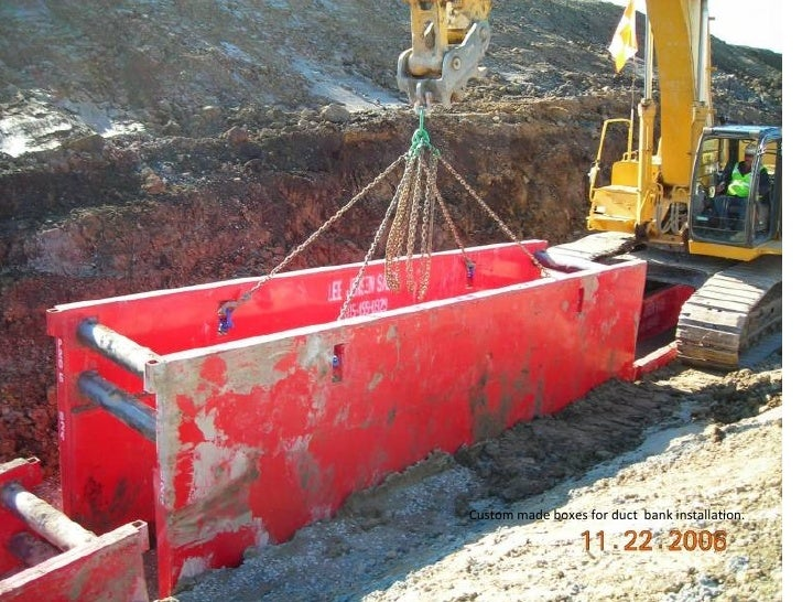 Custom made boxes for duct  bank installation.