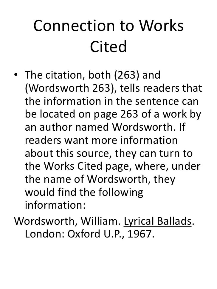 works cited in text citation