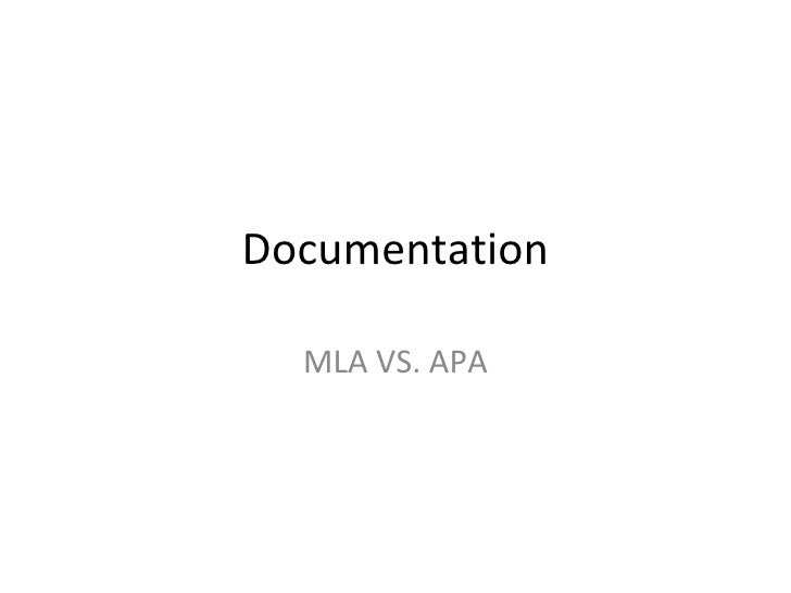 Documentation MLA VS. APA