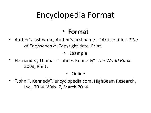 Bibliography encyclopedia