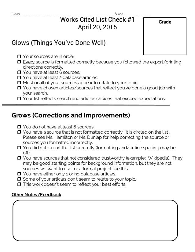 works cited formative assessment glows and grows checklist draft 1 ap