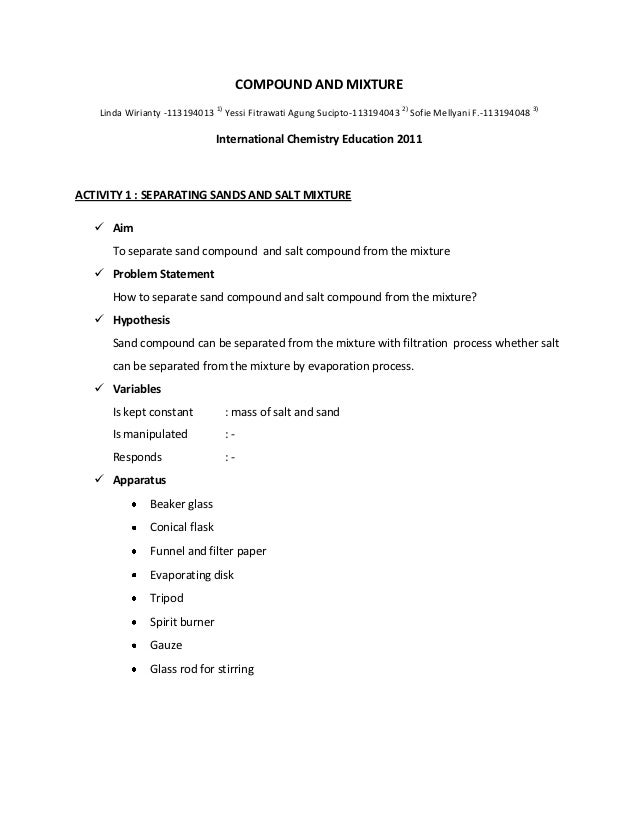 Worksheet Science Process Skill – Mixture Worksheet