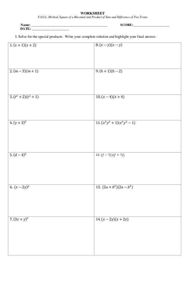 foil method worksheets kutshet – Foil Worksheets