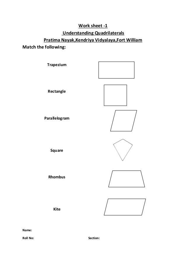 work sheet 1 understanding quadrilaterals. Black Bedroom Furniture Sets. Home Design Ideas