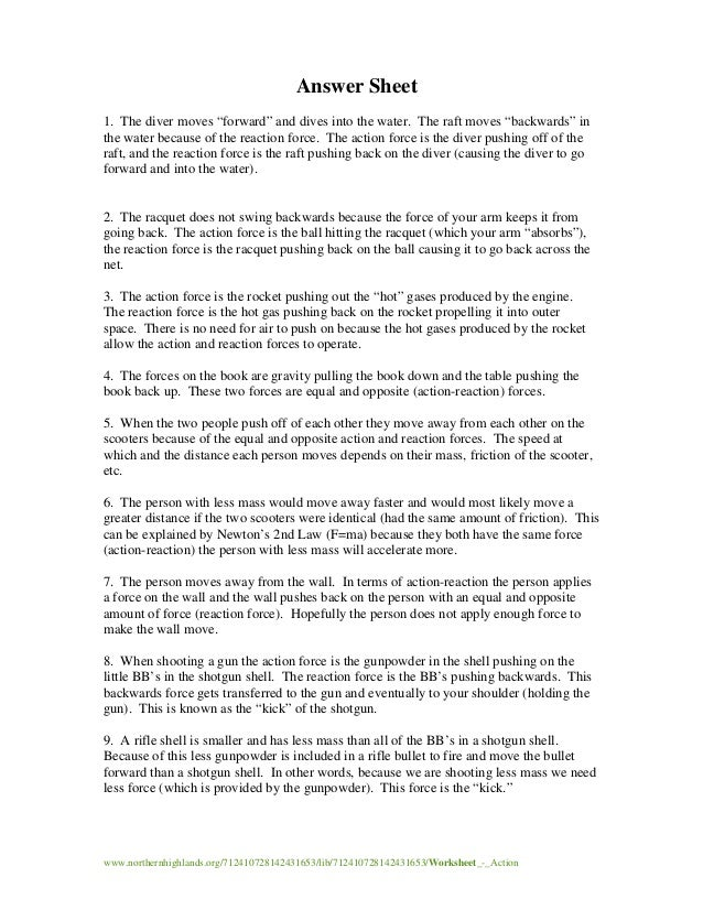 Worksheet actionreactionwithkey – Newtons Laws Worksheet
