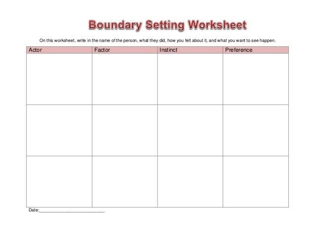 Worksheet boundary setting – Boundaries in Relationships Worksheet