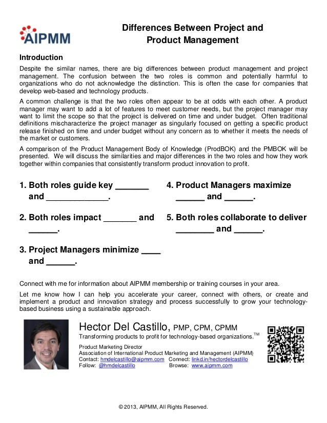 Differences Between Project and                                          Product ManagementIntroductionDespite the similar...
