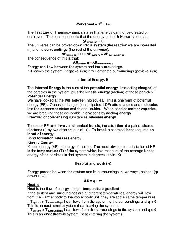 Worksheet First Law