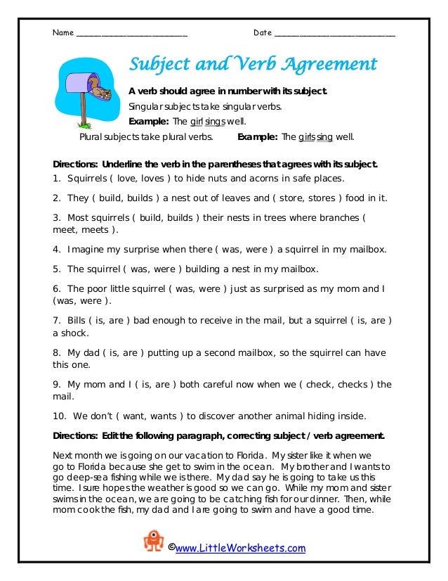 Worksheet Subject Verbagreement