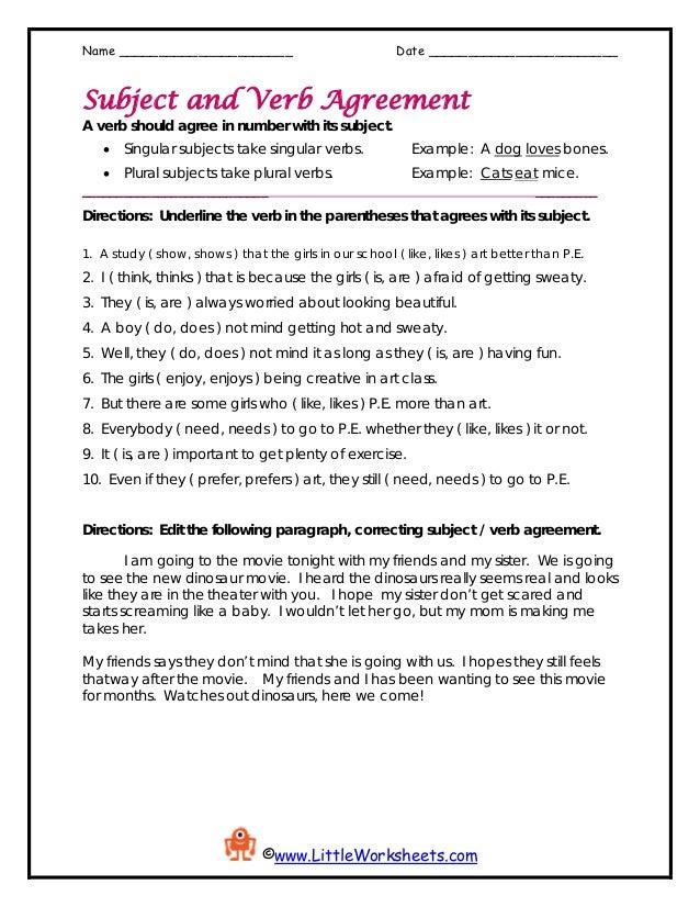 Worksheet Subject Verbagreement2