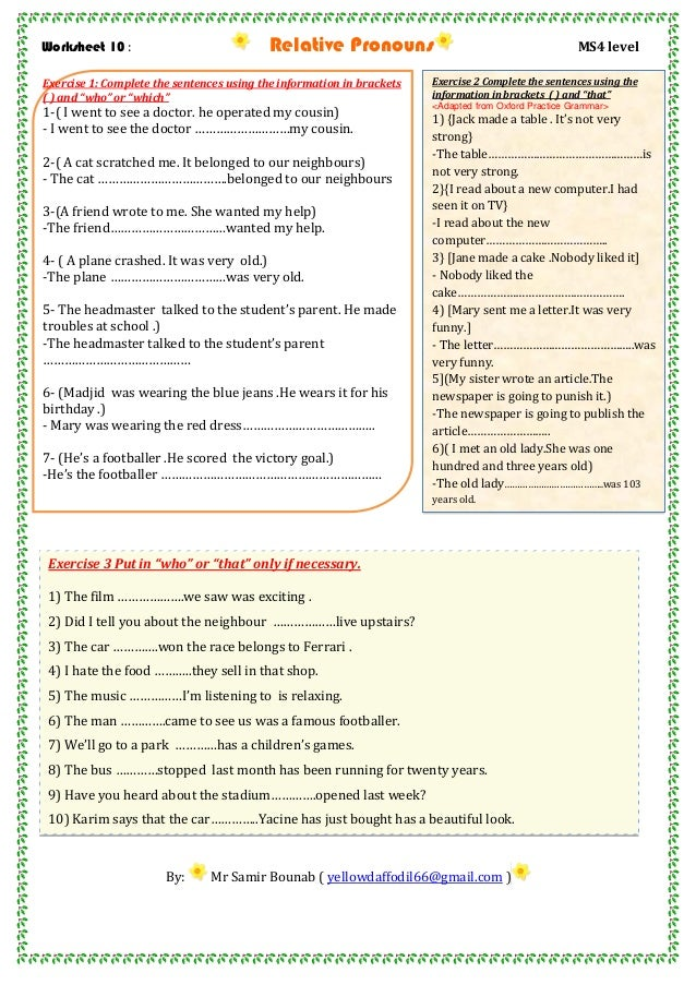 Worksheet 10 relative pronouns ms4 level – Relative Pronouns Worksheets