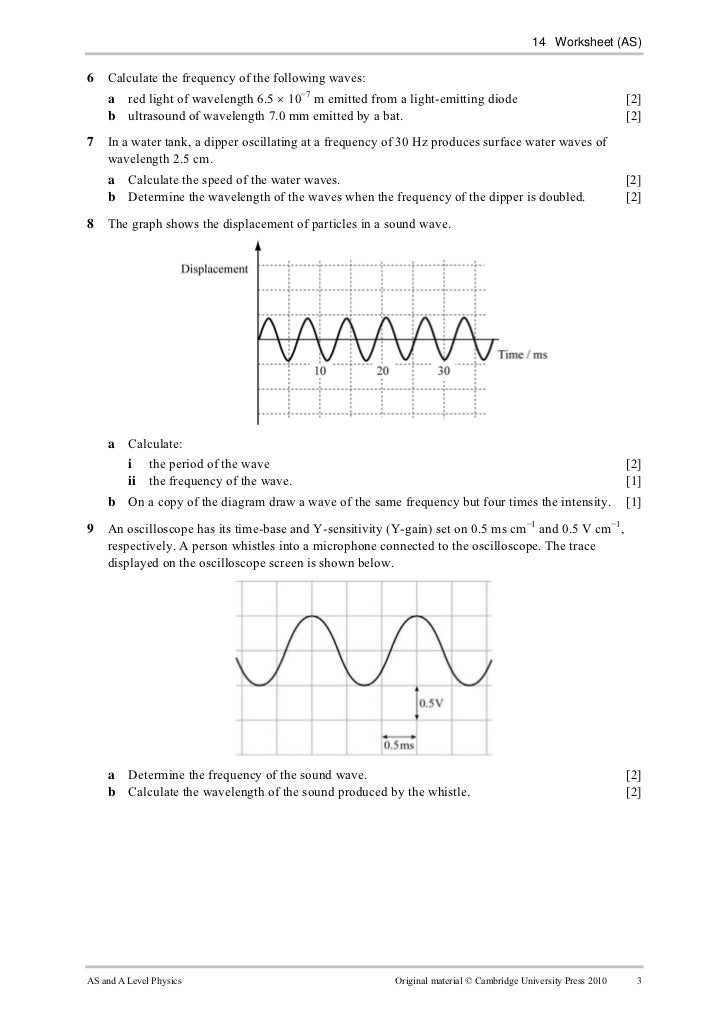Worksheet 14 – Wavelength and Frequency Worksheet