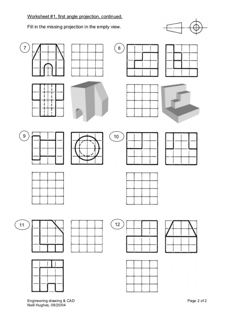 Worksheet 1 first_angle Orthographic Drawing Worksheet