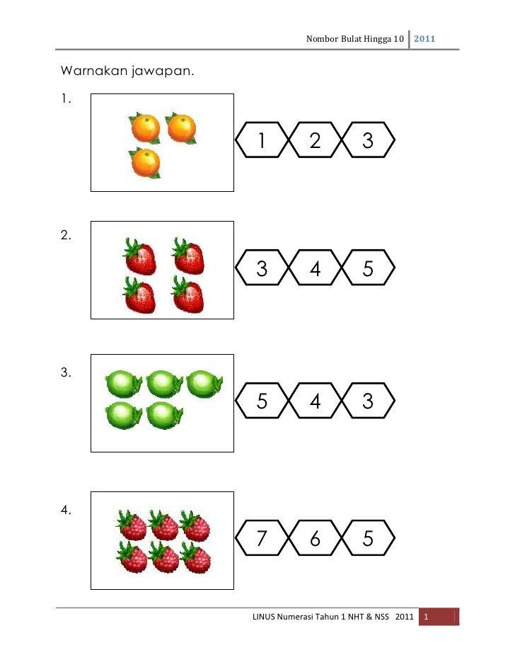 Nombor Bulat Hingga 10   2011Warnakan jawapan.1.                    1           2            32.                    3     ...