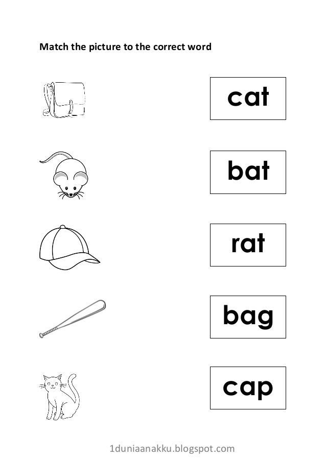 Free phonics match picture to word worksheet 2 (vowel 'a')