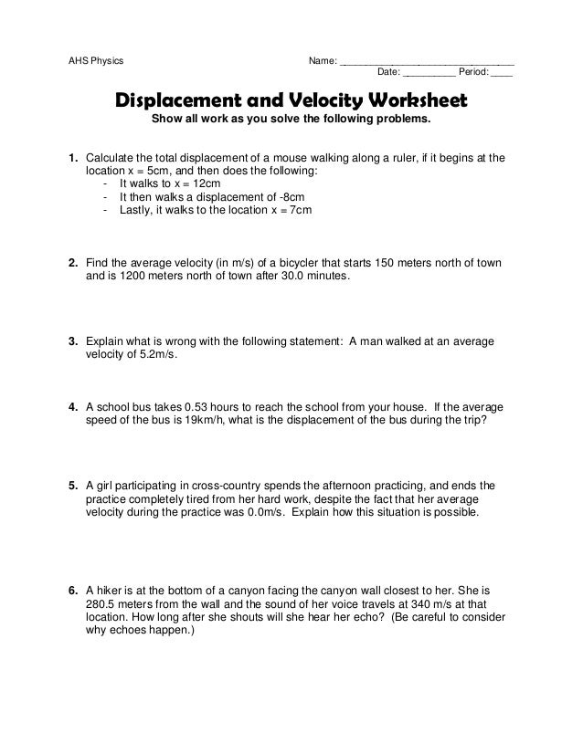 Velocity Worksheets Delibertad – Speed and Velocity Worksheet