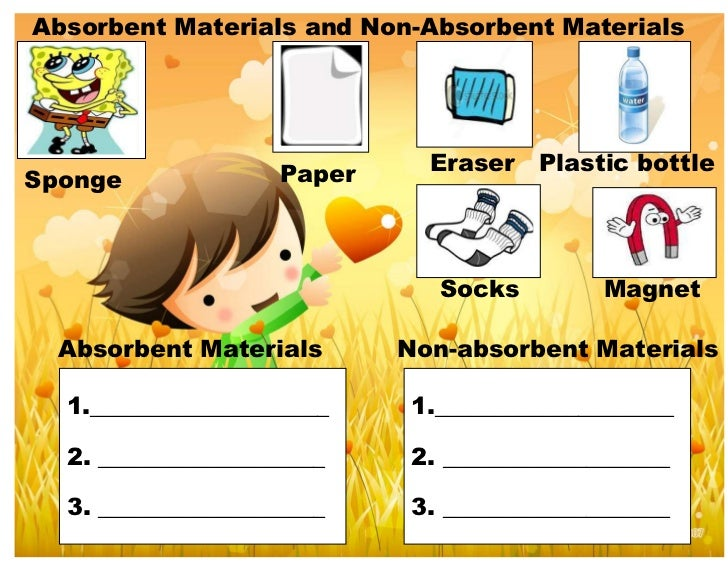 Absorbent Materials and Non-Absorbent Materials                    Paper     Eraser   Plastic bottleSponge                ...