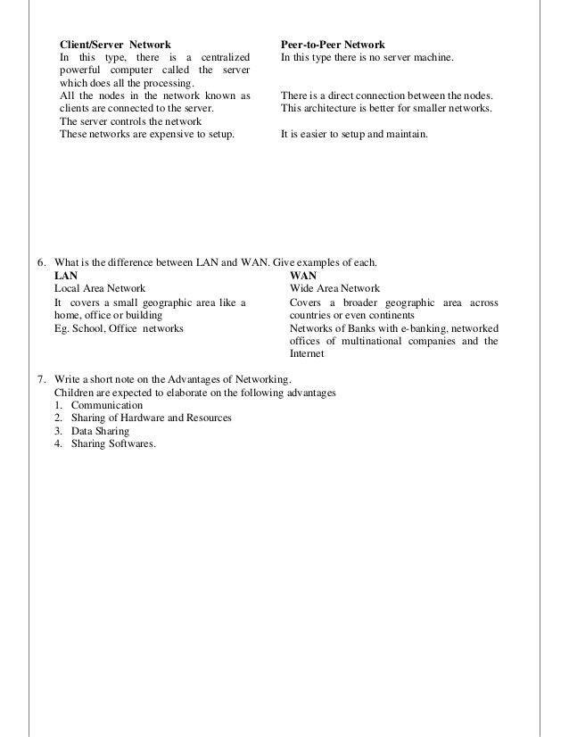 Computer Worksheet Class 8 with answers