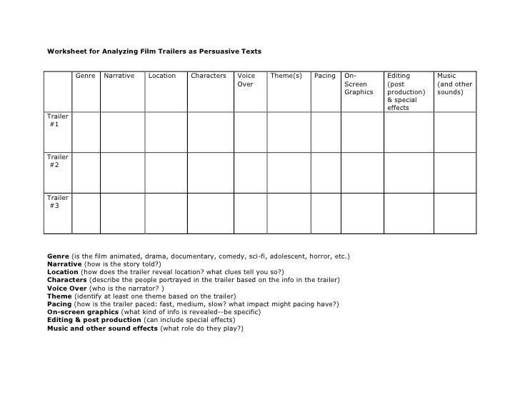 movie analysis worksheet Termolak – Movie Analysis Worksheet