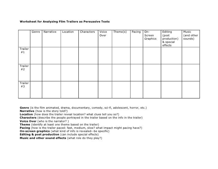 Printables Film Study Worksheet worksheet for analyzing film trailers as persuasive texts br genrenarrativelocationcharactersvoice