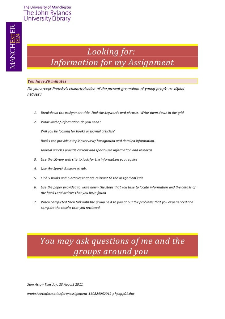 Looking for:               Information for my AssignmentYou have 20 minutesDo you accept Prensky's characterisation of the...